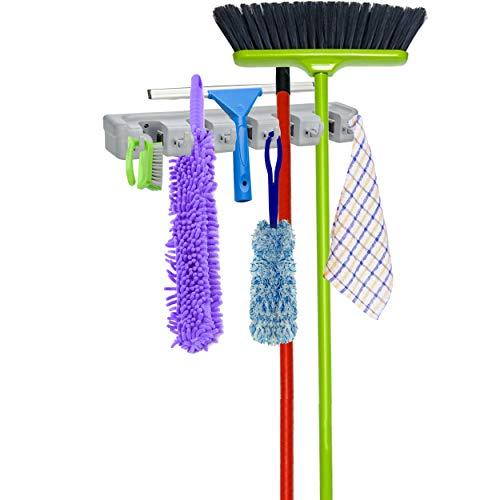 Oramics Opbergstrip, 6 haken en 5 snelspanners voor huis en tuin, wandhouder voor bezem, mop, gereedschap, tuingereedschap, bezemhouder, klembevestiging, met montagemateriaal