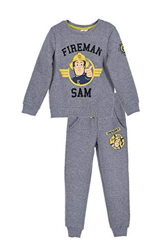 Feuerwehrmann-Sam Jogging Anzug Trainings Anzug 2 TLG. Sweatshirt + Jogginghose, Farbe:Grau, Größe:98 (3 A)