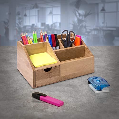 Woodluv Bambus-Schreibtisch-Butler, Stiftehalter, Briefablage, Tablet, multifunktional, 24,5 x 15 x 11 cm