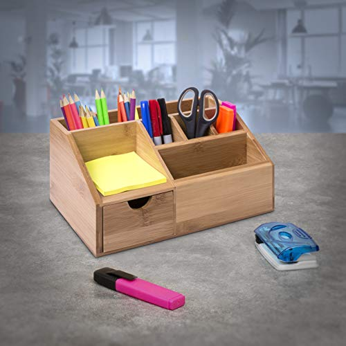 woodluv Bamboo Desk Tidy Organisers Pen Pencil Holder Letter Rack...