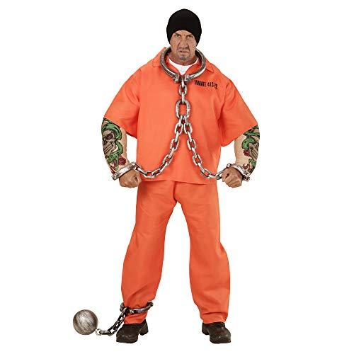 Widmann Famille 00642 Adulte Muscle Bras de Tatouage et Pantalon pour Homme Prisonnier déguisement ? Orange