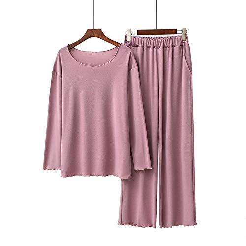 LEYUANA Conjunto de 2 Piezas para Mujer, Ropa de hogar Modal cómoda, Ropa Informal Suave, Conjunto de Pijamas de Mujer, Ropa de Dormir de Cuello Redondo de Estilo Simple Suelto, Talla única Rosa