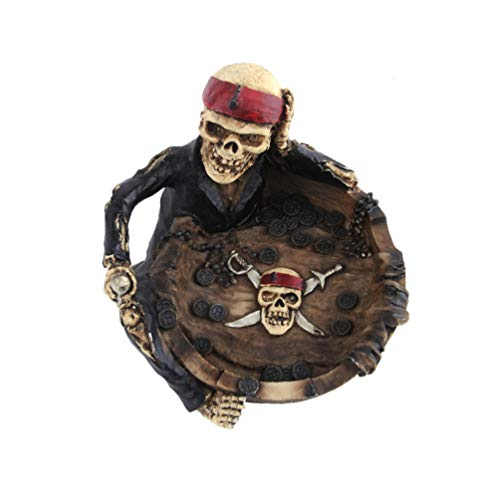 BESPORTBLE Resin Cigar Ashtray Pirate Skull Shape Ashtrays Novelty Ash Holder Ash Container Decorative Skulls Skeletons Figurines for Living Room Home Office