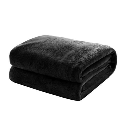 Mixibaby Kuscheldecke Flauschige extra weich und warm Wohndecke Flanell Fleecedecke, Falten widerstandsfähig/Anti-verfärben als Sofadecke oder Bettüberwurf, Größe:220 cm x 240 cm, Farbe:Schwarz