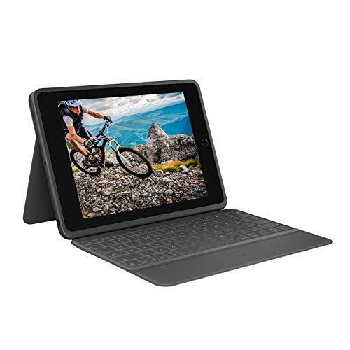 Logitech Rugged Folio Custodia con Tastiera Protettiva per iPad 7a Gen Modelli A2197 A2200 A2198 con Smart Connector e Tastiera Resistente agli Schizzi