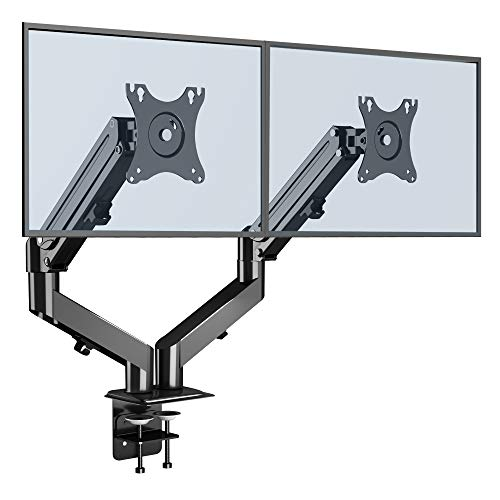 BONTEC Dual Twin Arms Desk Mount Stand for 13-27 inch LED/LCD Monitors, Height Adjustable Ergonomic Gas Spring Double Monitor Arm up to 6.5kg, Tilt Swivel VESA 75-100mm with Double'C'clamps