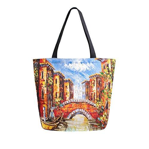 Mnsruu Ölgemälde Venedig Italien Lebensmittel, wiederverwendbare Einkaufstasche Frauen große lässige Handtasche Schultertasche für Einkaufen Einkäufe Reisen Outdoor