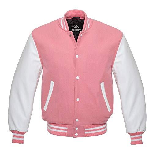 Letterman Varsity Jacket Genuine Leather Sleeves and Original Wool (White Pink, 2XL)