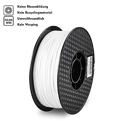 Reyke 1KG PLA 1,75mm 3D Drucker Filament, biologisch abbaubar, kompatibel mit 99% von Schmelzschichtung(FDM) 3D-Drucker und 3D Stift (Weiß)