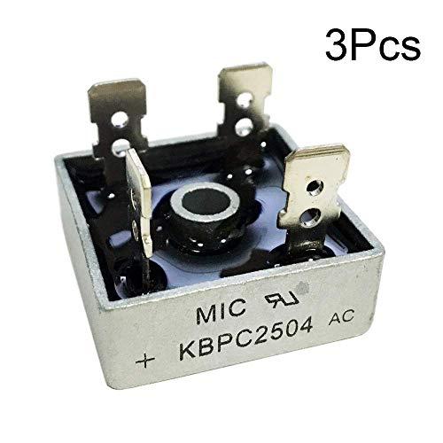 KBPC2504 - Puente rectificador de diodo (25 A, 400 V, KBPC monofásico completo de onda, 25 A, 25 A, diodos de silicio electrónico, 3 unidades