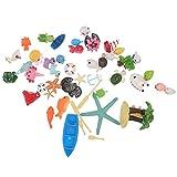 Happyyami 40 Piezas Miniatura Océano Ornamento Resina Playa Tortuga Mar Delfín Figura Animal Juguetes Hadas Jardín Oficina Decoración Pecera Acuario Bonsai Casa de Muñecas Decoraciones