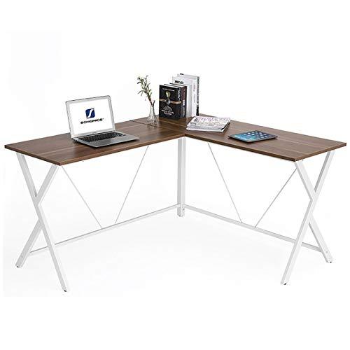 CYYAN Escritorio de Esquina en Forma de L Escritorio para computadora Escritorio Moderno y Simple Muebles de Acero y Madera, Madera marrón