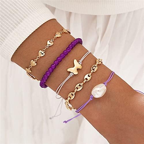 FIISH 5 unids/Set de Pulsera de Perlas de Cuerda Trenzada Bohemia, Conjunto de Pulseras de corazón de Mantequilla de Color Dorado, brazaletes para Mujer, joyería de Verano