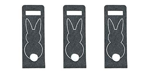 MC-Trend Juego de 3 bolsas de regalo de fieltro, diseño de conejo de Pascua con pompón, bolsa de regalo para botellas de vino