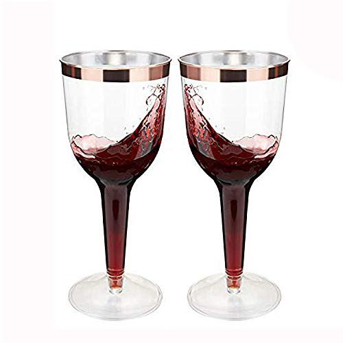 LOMOFI 30 Disposable Wine Cups, 10oz Clear Plastic Cups with Rose Gold Rim Elegant,Wine Glasses for Party,Wedding,Christmas