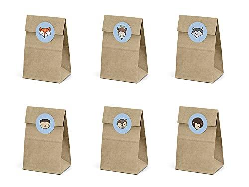 PartyDeco Kraftpapier Süßwaren Taschen Set von Geschenk-Geschenk-Taschen mit Aufklebern für Gäste Geschenkverpackung Süßwaren Taschen Geburtstag Tischdekorationen