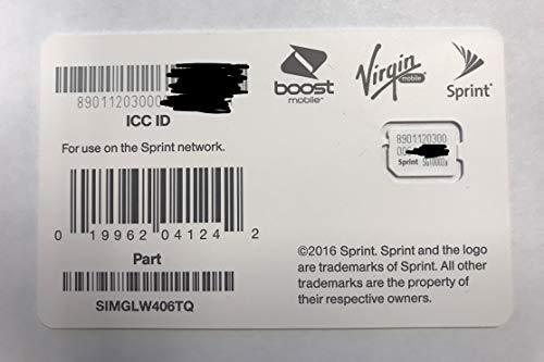 Sprint UICC ICC Nano SIM Card SIMGLW406TQ - Moto G6 Play, Galaxy S9, Samsung A6