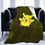 Qigong Flannel Fleece Microfiber Throw Blanket Poke-Mon Pika-Chu 60'' X50 Soft Fluffy Comfortable Luxury Bed Cover Blanket