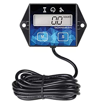 Runleader Digital Hour Meter Tachometer Maintenance Reminder Battery Replaceable User Shutdown  Use for ZTR Lawn Mower Tractor Generator Marine Outboard ATV  HM011F