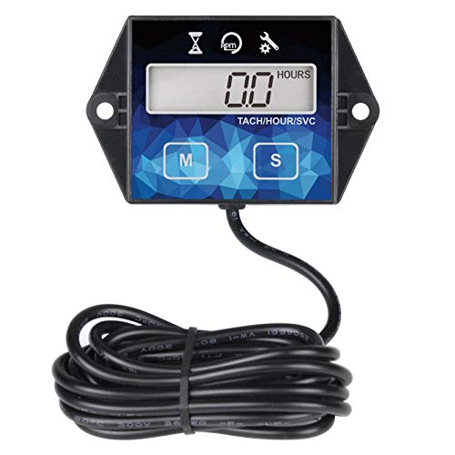 Runleader Digital Hour Meter Tachometer, Maintenance Reminder, Battery Replaceable, User Shutdown , Use for ZTR Lawn Mower Tractor Generator Marine Outboard ATV (HM011F)