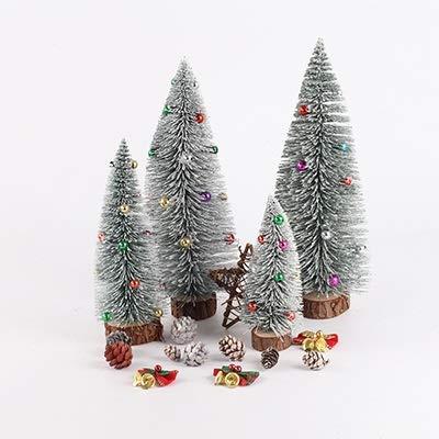 NLRHH Weihnachtsbaum Weihnachtsbaum Sisal Flasche Bürste Kleine Gefälschte Kiefer Zeder Mini Sisal Flasche Pinsel Weihnachtsbaum Santa Snow Frost Easy Montage Peng (Color : Bead Light Grey)