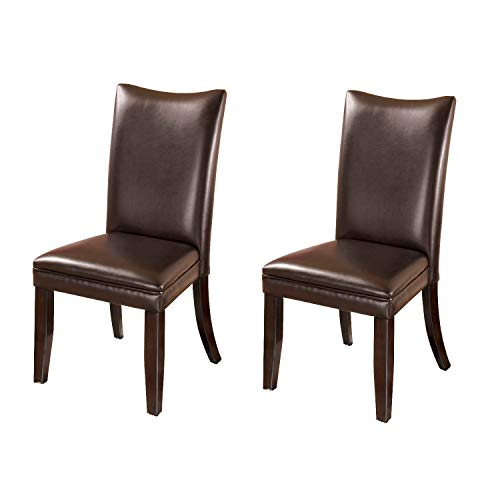 Signature Design by Ashley - Charrell Dining Upolstered Side Chair - Set of 2 - Contemporary Style - Medium Brown Dark Brown Dining Set