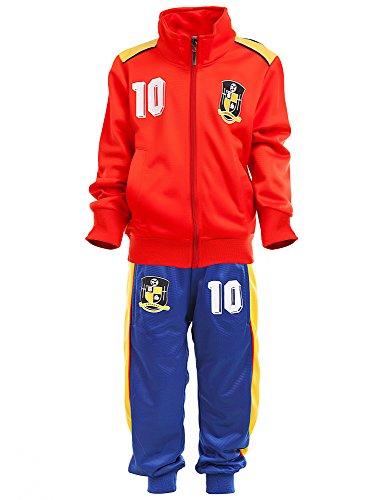 24brands Kinder Jungen Fußball Set Trainings Anzug Polyesteranzug Trikot Deutschland Brasilien sportanzug Ländertrikot TKF2941, Größe:152;Farbe:Spanien