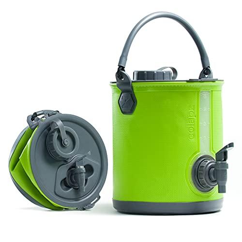 Colapz 2-in-1 BPA-freier Faltbarer Wasserbehälter mit Hahn - tragbarer Camping-Wasserkanister - Falteimer fürs Wohnmobil oder den Wohnwagen - Grün