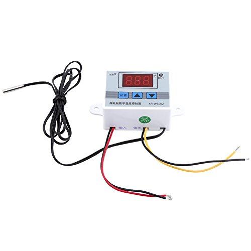 XH-W3002 Controlador de temperatura digital DC 24V Termostato precableado con sensor impermeable, modo de calentamiento y enfriamiento de 2 etapas (DC24V)