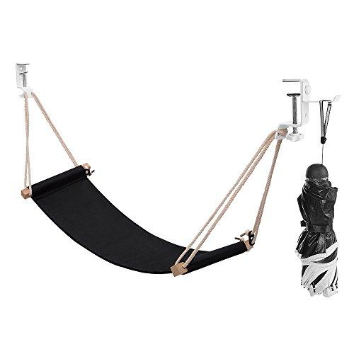 Foot Hammock Under Desk Footrest | Adjustable Office Foot Rest Under Desk Hammock | Portable Desk Feet Hammock with Headphones Holder (Black)