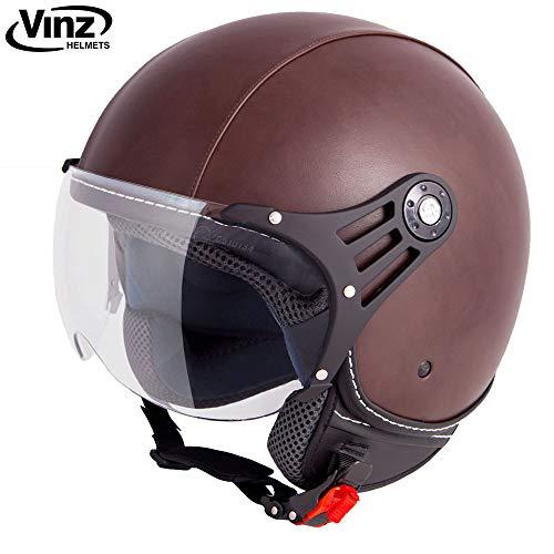 Vinz Motorradhelm Rollerhelm Jethelm Jet Helm Fashionhelm braun Lederhelm in Gr. XS-XL | Helm mit Visier | ECE zertifiziert (M)