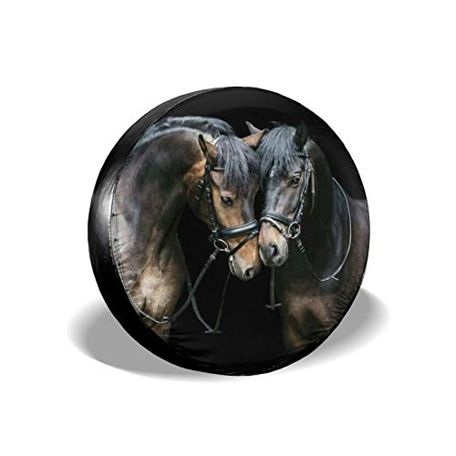 Xhayo Cubierta universal para neumáticos de repuesto para caballo, impermeable, a prueba de polvo, para remolques, RV, SUV y muchos vehículos (negro, diámetro 14 a 17 pulgadas)