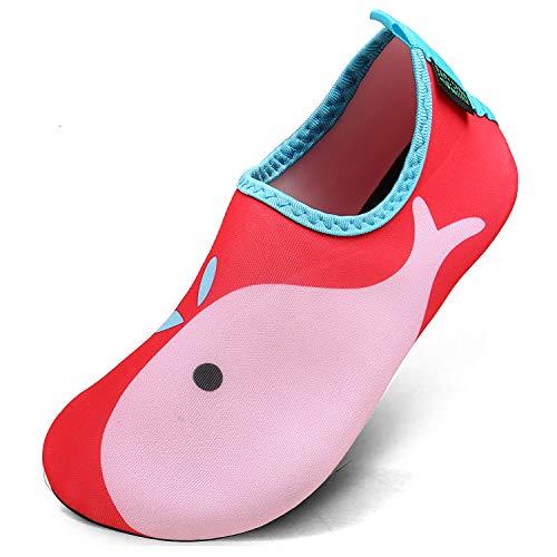 SAGUARO Chaussures d'eau Enfant Bébé Chaussures Filles Garçons Chaussures Aquatiques Chausson pour Piscine et Plage,Dauphin Rouge,20/21