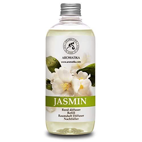 Raumduft Nachfüllflasche Jasmin 500ml - Nachfüller mit Naturreinem Ätherischen Jasmin Öl - Intensiv & Langanhaltend Aroma Natürlich - ohne Alkohol - Aromatisieren der Innenraumluft fur Raum