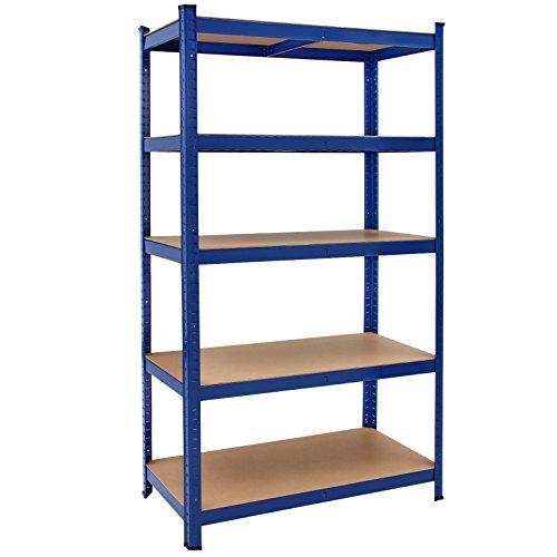 Deuba Schwerlastregal 180x90x40cm 875kg blau 5 MDF-Platten Lagerregal Kellerregal Steckregal Werkstattregal