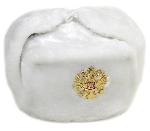 Auténtico sombrero de ushanka blanco militar ruso soviétic