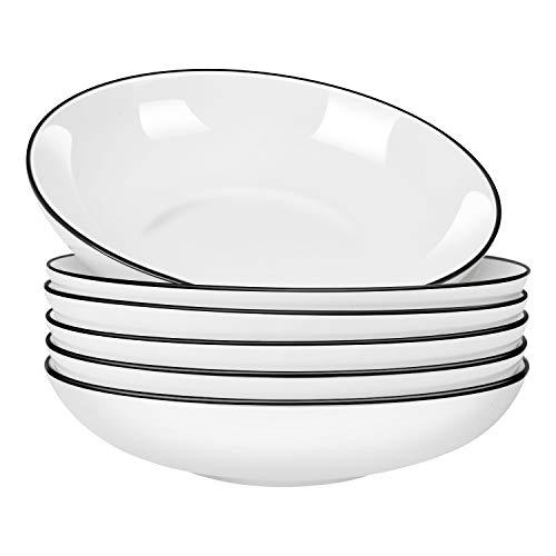 AnBnCn 9 Inch Porcelain Pasta/Salad Bowls - 30 Ounce - Set of 6, White