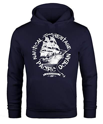 Neverless Hoodie Herren Segel Schiff Black Pearl Kapuzen-Pullover Männer Navy 3XL