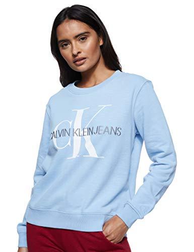 Calvin Klein Jeans Damen Vegetable Dye Monogram Crew Neck Sweatshirt, Blau (Chambray Blue CDN), 40 (Herstellergröße: X-Large)