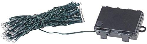 Lunartec Lichterkette außen: LED-Lichterkette mit 50 LEDs, Timer, Batterie, warmweiß, 5 m, IP44 (Lichterkette außen Batterie)