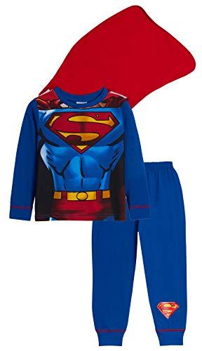 Lora Dora Jungen Schlafanzug blau Superman - Supersuit with Cape 7-8 Jahre