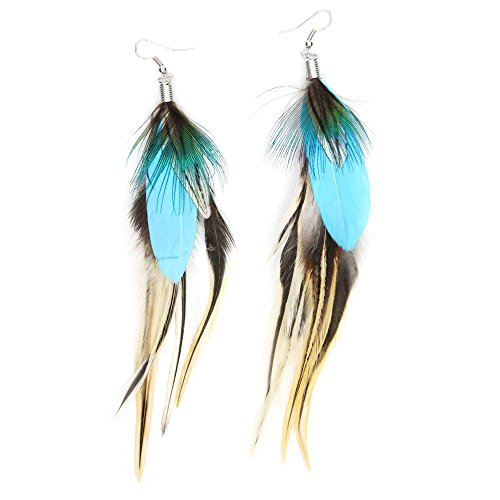 Feather Earrings Handmade Natural Long Feather Dangle Earrings for Women Valentine's day Mother's day Gift