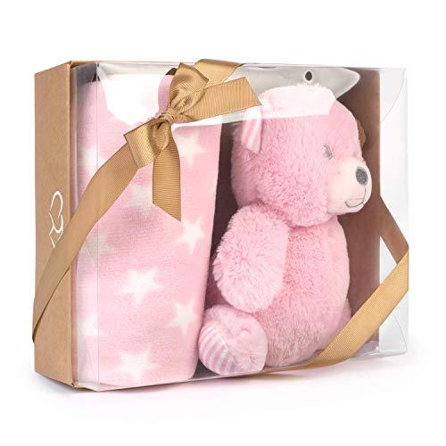 Muñeco Peluche Osito con Manta Bebé Estrellas (Bear Rosa