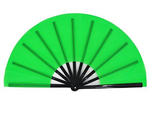 Amajiji Large Folding Fan, Chinease/Japanese Folding Nylon-Cloth Hand Fan, Women Hand Folding Fans Hand Fan Gift fan Craft fan Folding Fan Dance Fan (Green)