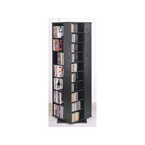 """Pemberly Row 62"""" CD DVD Spinning Tower in Black"""