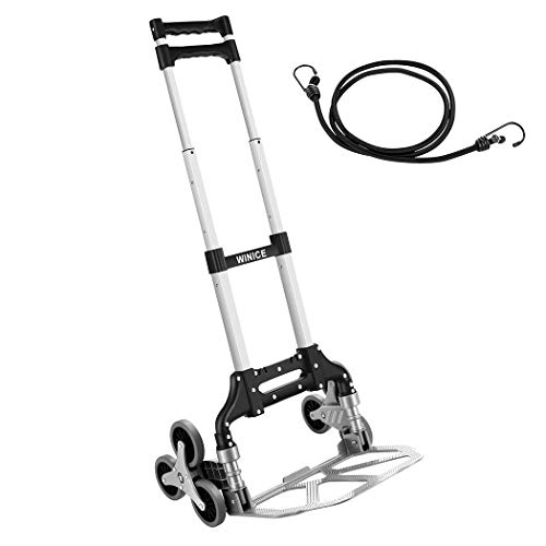 Carretilla de mano para escalador de escaleras, plegable, de aleación de aluminio portátil, para supermercado, hogar, oficina, escaleras, equipaje, transporte de viaje