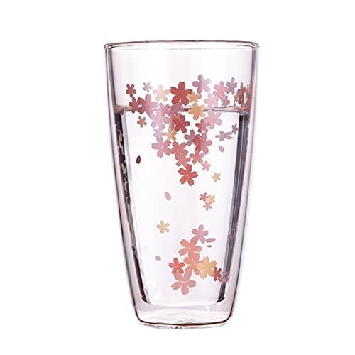 Sakura Doble Pared Capa Vidrio Copa De Vidrio Agua Taza De Bebida Leche Café Taza Taza Taza Barbero Accesorios Bebidas, Día De San Valentín, Cumpleaños Y Navidad (350 (Color:A)