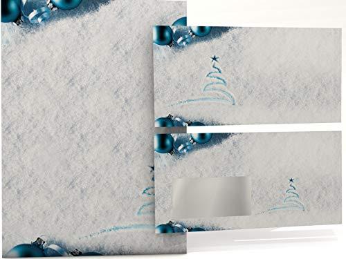 Kerstbriefpapier set sporen in sneeuw, 50 vellen A4 en 50 venster-enveloppen