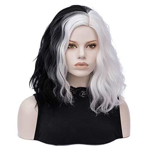 ATAYOU®Peluca Corta Negra Blanca Peluca Corta de Mujer Mitad Mitad Blanca para Disfraz (Peluca Solamente@0546)