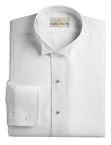 Wing Collar Tuxedo Shirt, Pique Bib Front, 65% Polyester 35% Cotton White (17 - 34/35)